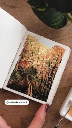 Landscape Paintings, Watercolor Landscape, Watercolor Paintings, Art Paintings, Diy Canvas Art, Gouache Painting, Painting Techniques, Cute Art, Amazing Art
