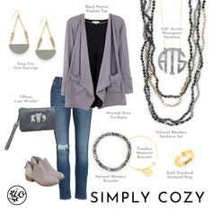 I love this look for monogram Monday! What's your favorite accessory here? Monogram Necklace, Necklace Set, Tiffany Earrings, Grey Cardigan, City Chic, Fashion Boutique, Your Style, Christmas 2019, Christmas Ideas
