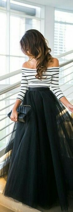 Pretty tulle maxi skirt with striped off the shoulder top.