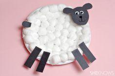 Cotton ball lamb - Easter craft