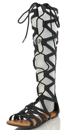 Soda Women's Reanna Open Toe Lace Up Gladiator Knee High Flat Sandal >>> If you love this, read review now : Lace up sandals