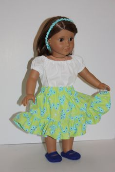 18 inch Doll Clothes Lime Green Twirly Skirt White by FrogBlossoms, $20.00