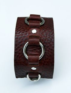 Leather Cuff in Aztec Leather with buckle closure and silver rings. Gifts for men. Small Silver Ring Leather Cuff  Choice of by SexySkinsLeather, $64.50