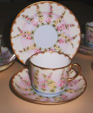 AYNSLEY TRIO Cup Saucer Plate BONE CHINA Floral / Gilt  1930s
