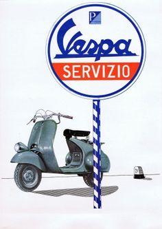 Vespa Servizio, 1960s - original vintage poster listed on AntikBar.co.uk