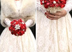 I love the snowflake on top and all the different shades of red.  This was made by the owner of Beau Buttons for her own wedding.