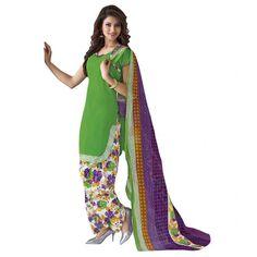 Cambric Cotton Light Green Churidar Suit Dress Material - 5490511