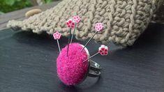 Bague laine porte épingle 25 mm rose