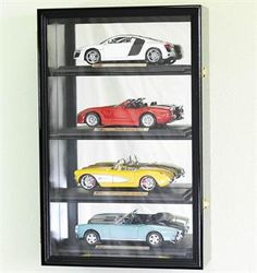 Glass Display Cases for Swords | Holds 4 / 1:18 Scale Diecast Model Car Display Case Cabinet - Lockable