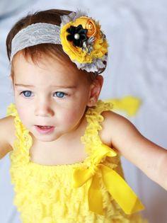 gorgeous yellow grey Shabby Headband, fancy baby Headband,wedding Baby headband, newborn headband, flower headband, baby girl  hairbow