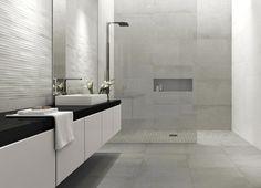Concrete tile, modern bathroom