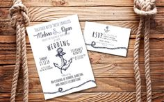 Nautical Wedding Invitation and RSVP Card Digital by PacificCards, $22.95