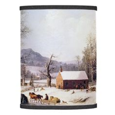 Americana Winter Snow Pond Horse Sleigh Lamp Shade - home gifts cool custom diy cyo
