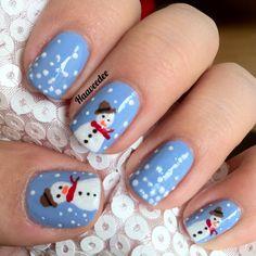 – Nail art by Haavee… Cute snowman nails! – Nail art by Haaveedee Nails – Almond Nail Art, Almond Nails, Christmas Nail Art Designs, Winter Nail Designs, Fun Nails, Pretty Nails, Nice Nails, Holiday Nails, Christmas Nails