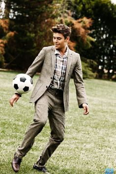 Taupe tweet suit, looking good with the soccer ball (love soccer)