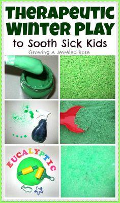 Activities to sooth sick kids- Eucalyptus scent Winter Play ideas Sensory Bins, Sensory Activities, Winter Activities, Sensory Play, Toddler Activities, Health Activities, Sensory Boards, Sensory Bottles, Winter Fun