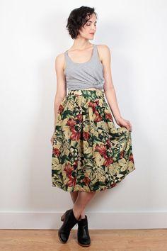 Vintage 80s Skirt Gold Silk Skirt Floral by ShopTwitchVintage