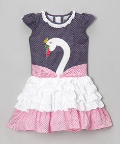 Loving this Black & Pink Swan Lace Ruffle Dress - Toddler & Girls on #zulily! #zulilyfinds