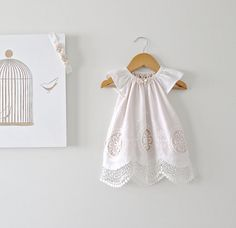 Baby Girl Baptism Dress-Antique White Lace and Peach Pink Silk and Headband-Christening-Special Occasion Dress-Clothing by Chasing Mini. on Etsy, $168.98