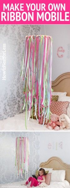 DIY ribbon mobile - I might call it something less baby-ish! My big girl would love this in her room too! It would be so sweet to add in some little charms or vintage crystals. Diy Ribbon, Ribbon Crafts, Ribbon Projects, Home Projects, Craft Projects, Projects To Try, Deco Dyi, Ribbon Mobile, Diy For Kids