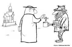 (Quino) About religion and been charitable vs reality 😒 Tabu, Adult Humor, Salvador, Grande, Illustrators, Religion, Cartoons, Perfume, Memes