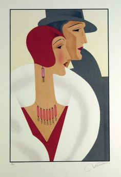 4211: Art Deco Couple Unknown Artist Pencil Signed & Nu : Lot 4211