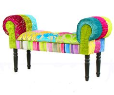 Bespoke Patchwork Chaise Longue/Stool/Window Seat by JustinaDesign