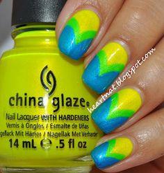 DIY Nails Art :DIY Neon Nails Art : Neon Chevrons