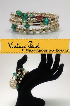Wrap-Around-a-Rosary...Five decade rosary bracelets, each one unique and handmade in Webster, NH.  This color combination has a lovely, vintage effect.