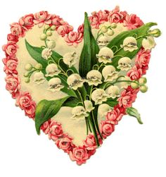 Victorian valentine graphic - floral heart. free