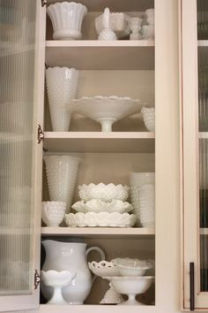 My Vintage Milk Glass collection.  Pieces purchased from Goodwill.