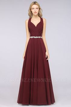 A-Line Chiffon Halter V-Neck Sleeveless Ruffle Floor-Length Bridesmaid Dress with Appliques Sashes Ruffles Bridesmaid Dresses, Affordable Bridesmaid Dresses, Lace Bridesmaids, Prom Dresses, Formal Dresses, The Dress, Dress For You, Dress Long, Custom Made Prom Dress