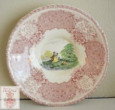 Vintage English Pink Transferware Demi Saucer Plate Goat Bridge Royal Doulton Chatham