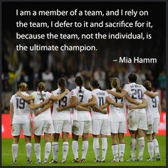 The Team is the Ultimate Champion. - Mia Hamm