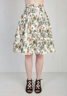 Anthropological Solution Skirt by Pink Martini - White, Orange, Green, Blue, Brown, Tan / Cream, Multi, Floral, Print, Casual, Full, Summer, Long, Cotton, Woven, Pockets, Work, Spring