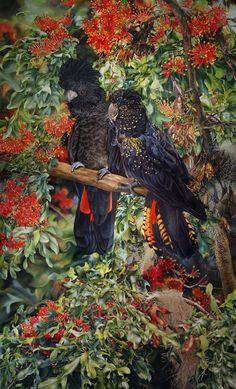Heidi Willis Progress on the Black Cockatoo Commission-1