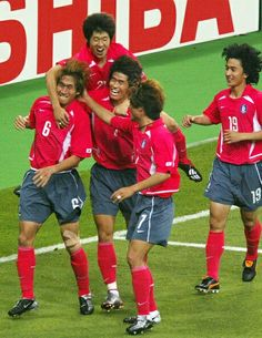 South Korea 1 Belgium 1 in 1998 in Paris. Yoo Sang-Chul is mobbed after his equaliser on 71 minutes in Group E 1998 World Cup, Fifa World Cup, Final S, World Cup Final, South Korea, Singing, Garra, Belgium, Sports