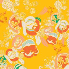 Fabric by the yard - Art Gallery Fabrics Meadow - Florascape  easy  baby fabric storeMarigold