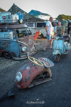Custom VANS natural BABES & other bad ass transportation. Volkswagen Beetle, Vw T1, Bike Rollers, Enduro Vintage, Vw Rat Rod, Motorised Bike, Muscle Cars, Microcar, Vw Classic