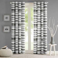Sadie Stripe Printed Single Curtain Panel