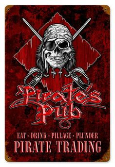 Wooden Pirate Signs | Pirate's Pub Vintage Metal Sign