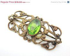 SALE Art Nouveau Brooch  Peridot Green Czech by VintageInBloom, $15.30