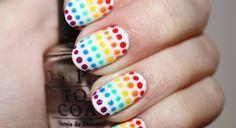 Rainbow dot nail art!