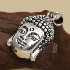 S925 sterling silver jewelry retro Thai silver Buddha head pendant Open the Buddha to Buddha pendant