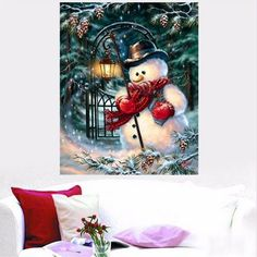 25x20CM 5D Diamond Painting Christmas Snowman DIY Cross Stitch Embroidery Home Decor