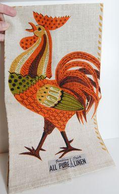 Vintage Linen Tea Towel Kitchen Towel Parisian Prints Linen Rooster 70's Colors Orange Harvest Gold Avocado Green by OffbeatAvenue on Etsy