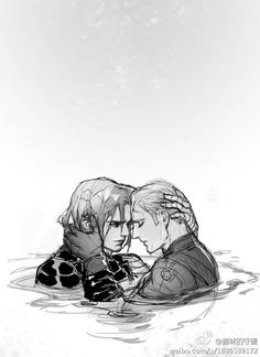 whydouwantaname:  whydouwantaname:  OMG! It is so pretty!!! I love their expressions and how they touch each other so gently (while having to swim too). This is so awesome!!!  I'd read a 5000 page fanbook/comic leading to/starting with this scene. The art is just brilliant!