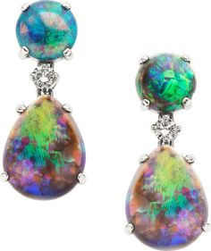 Black Opal, Diamond, White Gold Earrings. ... Estate | Lot #58690 | Heritage Auctions