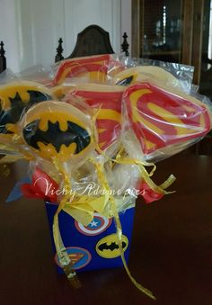 Batman and Superman cookies