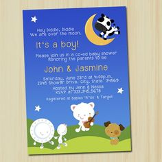 Nursery Rhyme Invitation | Hey Diddle Diddle |  Baby Shower | partytimedecor - Cards on ArtFire